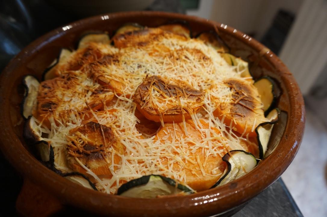 Tarta vegetariana de boniato y calabacín